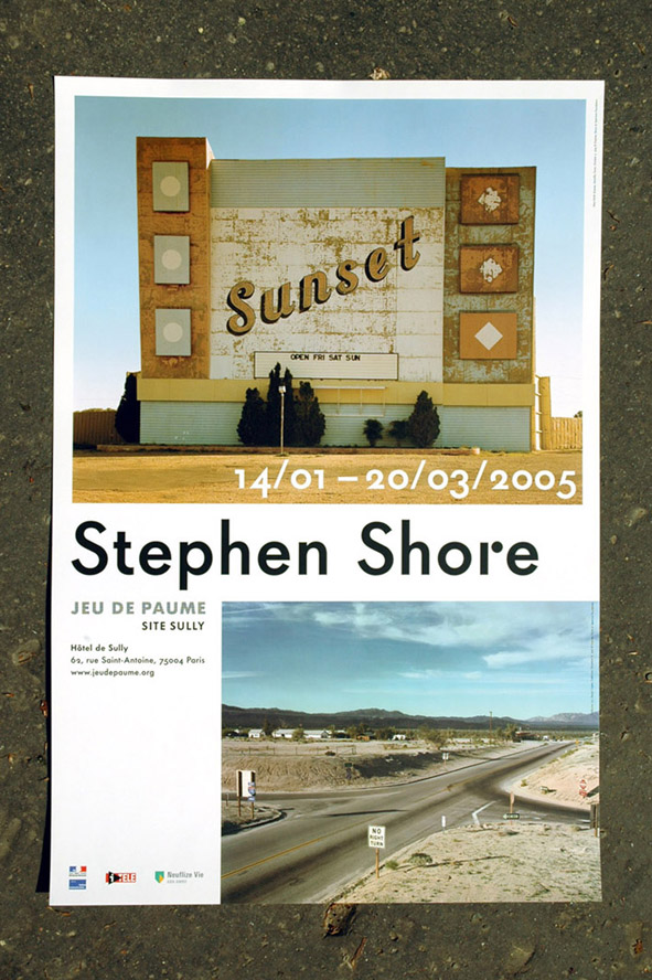 Poster for the 'Stephen Shore' exhibition, first version of the logo.