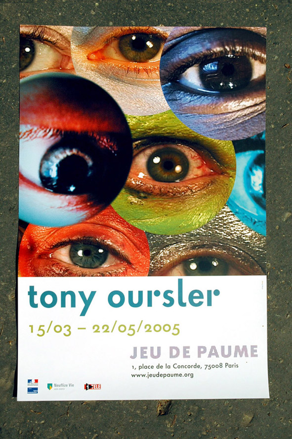 Poster for the 'Tony oursler' exhibition, first version of the logo.
